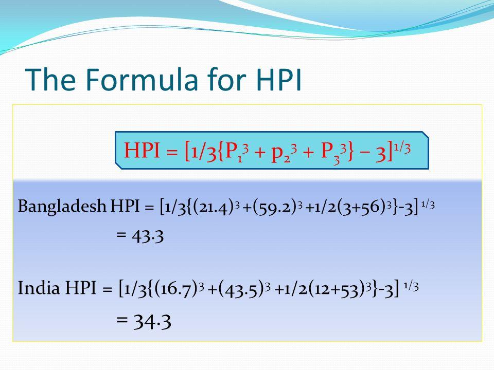 The Formula for HPI HPI = [1/3{P13 + p23 + P33} – 3]1/3 = 34.3 = 43.3